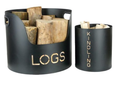 Log and Kindling Tubs (Black)