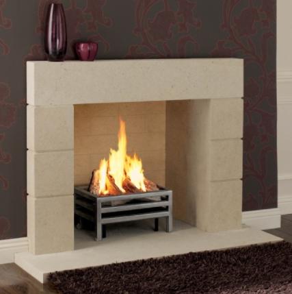 Priory stone fireplace