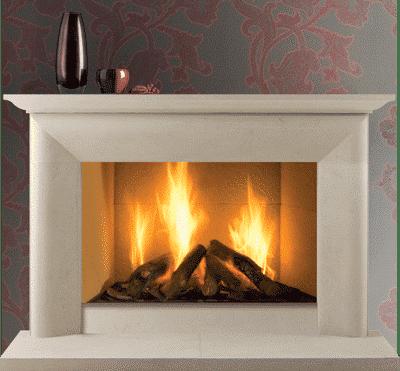 Montgomery III stone fireplace