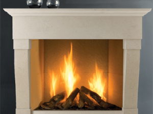Rochester stone fireplace