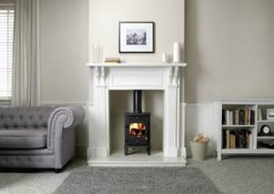 cast iron wood burning stove in a fireplace