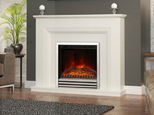 Elgin & Hall Amorina Marble Electric Fireplace Suite