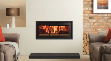 Studio 2 Edge + inset wood burning fire