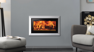 Stovax Studio 1 Bauhaus inset wood burning fire in Polished Stainless Steel.