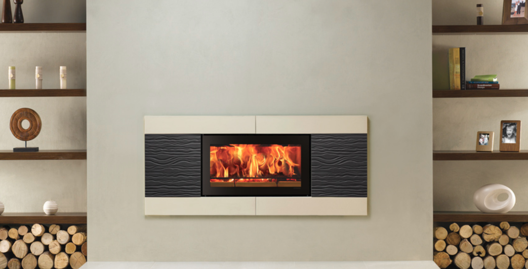 Stovax Studio 1 Ceramica Wave inset wood burning fire in Graphite & Oyster White
