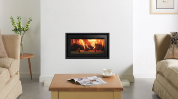 Studio 1 Edge + inset wood burning fire