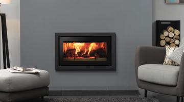 Stovax Studio 1 Profil inset wood burning fire in Jet Black Metallic
