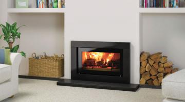 Stovax Studio 1 Sorrento inset wood burning fire in Polished Black Granite