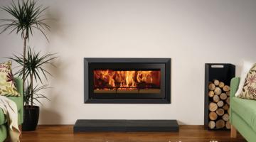 Stovax Studio 2 Bauhaus inset wood burning fire in Jet Black Metallic.