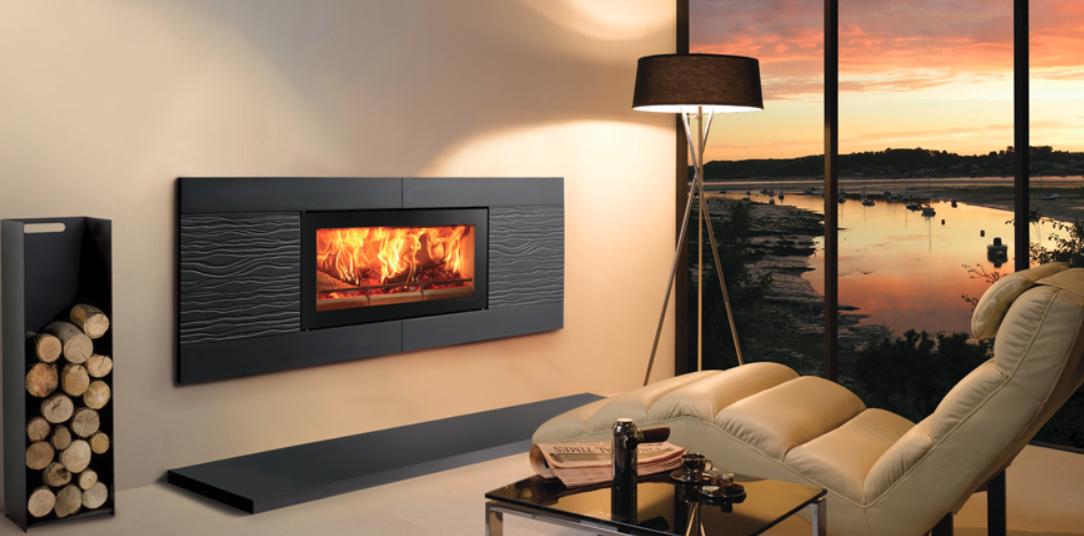 Stovax Studio 2 Ceramica Wave inset wood burning fire in Graphite