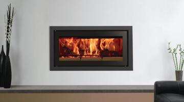 Stovax Studio 2 Profil inset wood burning fire in Jet Black Metallic