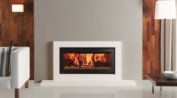 Stovax Studio 2 Sorrento inset wood burning fire in Natural Limestone
