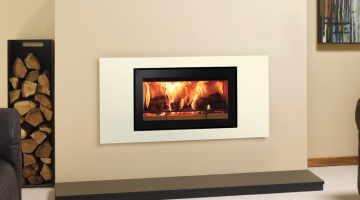 Stovax Studio 2 Steel inset wood burning fire in Ivory.