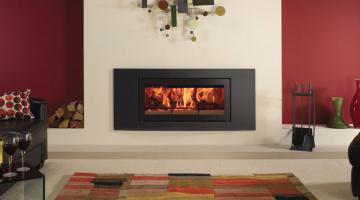 Stovax Studio 2 Verve inset wood burning fire in Jet Black Metallic