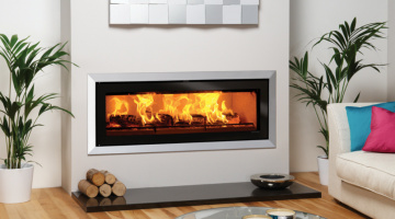 Stovax Studio 3 Bauhaus inset wood burning fire in Polished Stainless Steel
