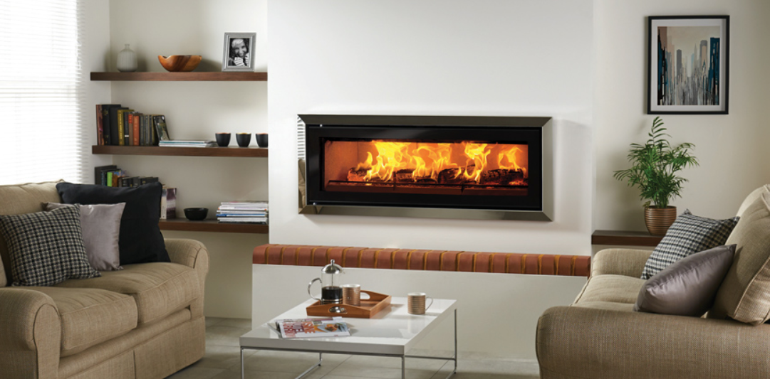 Stovax Studio 3 Bauhaus inset woodburning fire in Polished Stainless Steel