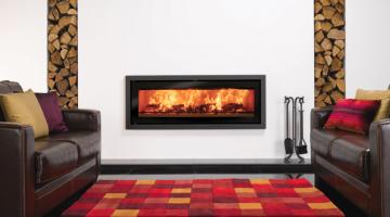 Stovax Studio 3 Profil wood burning fire in Jet Black Metallic