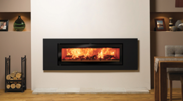 Stovax Studio 3 Steel inset wood burning fire in Jet Black Metallic.