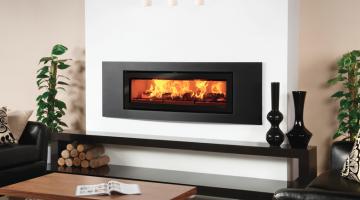 Stovax Studio 3 Verve inset wood burning fire in Jet Black Metallic