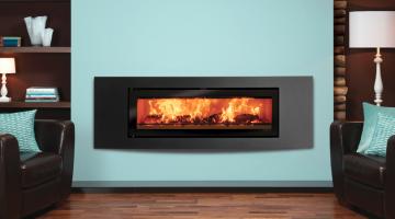 Stovax Studio 3 Verve inset woodburning fire in Jet Black Metallic