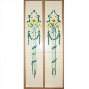 H R Johnson Floral Set of 5 Tube-Lined Tiles Green Yellow x 2 - Was £180 Now £90