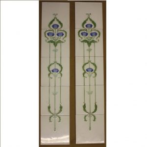 H R Johnson Floral Set of 5 Tube-Lined Tiles x 2 - Was £180 Now £90