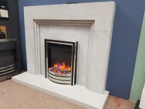 Arnolds Meridian 50-inch Fireplace in Highland Grey Stone with a 54-inch Hearth (fire sold seperately) (Halstead) - Was £1485 NOW £1000