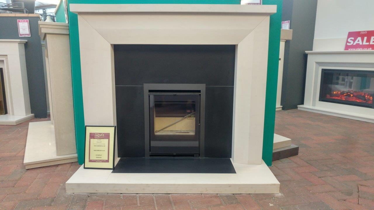 Natura Fireplaces Emma 54-inch Surround with Black Granite Hearth and Back  Panel (stove sold serperately) (Ipswich)