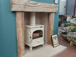 Newman Fireplaces Exmoor Surround with Brick-effect Chamber _ Limestone Back Panel and Hearth (stove sold seperately) (Ipswich) - Was £1400 NOW £899