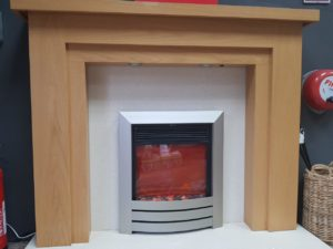 Trent Benidorm Mantel, Celsi Camber Electric Fire, Honed Marble Hearth _ Back Panel - Complete Package(Halstead) - ONLY £500