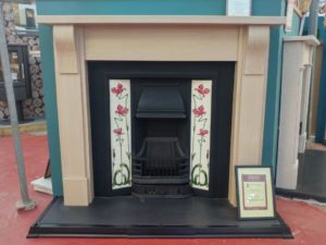 Trent MDF Carlise Surround in Washed Oak with Price Black Cast Iron Insert with Solid Fuel Kit or Gas Fire (tiles sold seperately)(Ipswich) - Was £1051 NOW £525.50