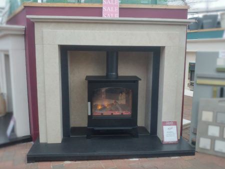 Arnolds Natura 58 inch Wentworth surround in Marsden Beige Limestone with matching chamber and Antique Nero Granite slips (stove and hearth not included) (Ipswich)