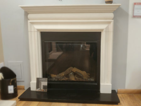 Chesneys 54 inch Clandon Bolection in limestone with black granite slips and Bellfires Derby Large 3 natural gas fire for balanced flue (Norwich) - Was £5939 NOW £3