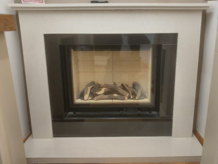 DRU 53 inch Cara surround in Moonlight micro-marble with Trent Whisper 750 Portrait gas fire (Norwich) - Was £2915 NOW £999